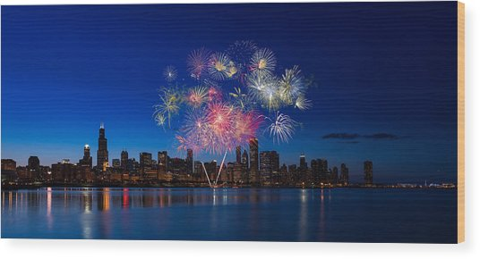 Chicago Lakefront Fireworks Wood Print