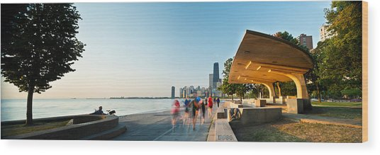 Chicago Lakefront Panorama Wood Print