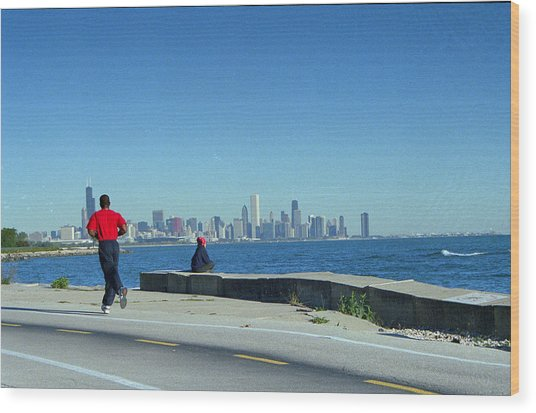 Chicago Lakefront Runner Wood Print by Eric Miller