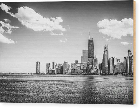 Chicago Lakefront Skyline Black And White Picture Wood Print