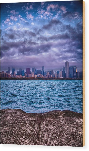 Chicago Lost In The Clouds Wood Print