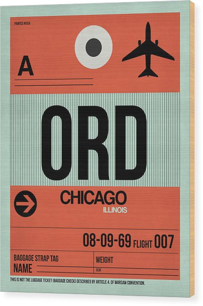 Chicago Luggage Poster 2 Wood Print