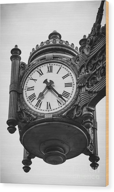 Chicago Macy's Marshall Field's Clock In Black And White Wood Print by Paul Velgos