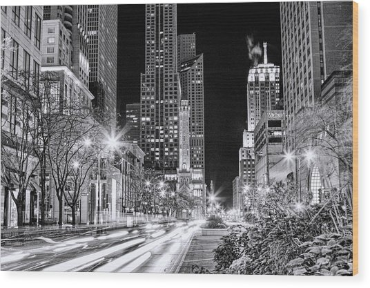Chicago Michigan Avenue Light Streak Black And White Wood Print