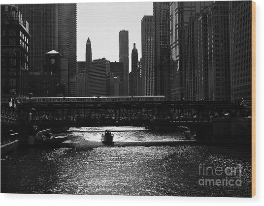 Chicago Morning Commute - Monochrome Wood Print