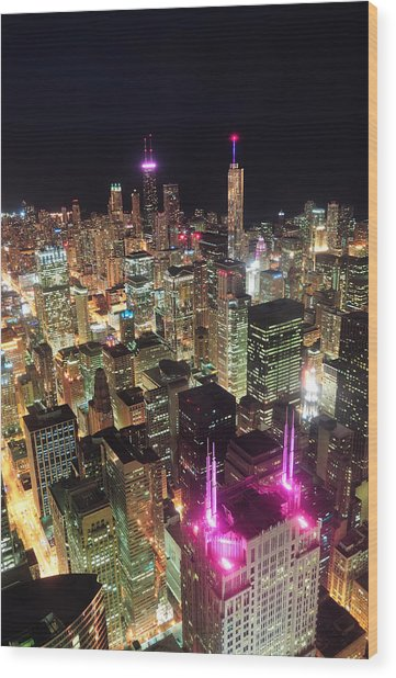 Chicago Night Aerial View Wood Print