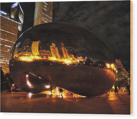 Chicago Night At Cloud Gate 001 Wood Print by Lance Vaughn