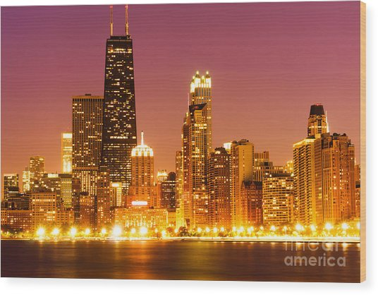 Chicago Night Skyline With John Hancock Building Wood Print