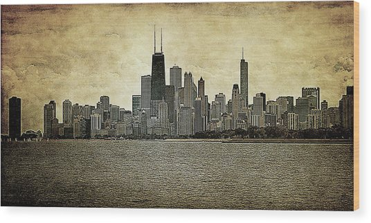 Chicago On Canvas Wood Print
