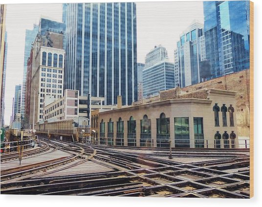Chicago Rails Wood Print