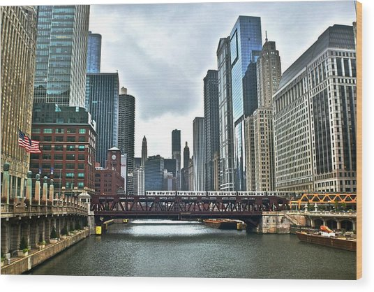 Chicago River And City Wood Print