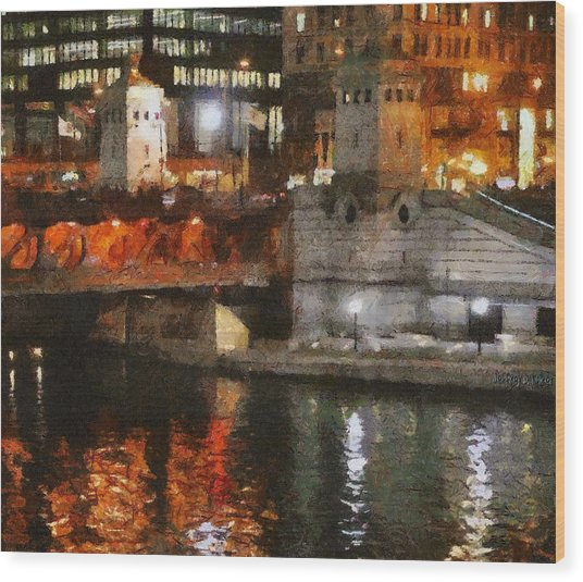 Chicago River At Michigan Avenue Wood Print