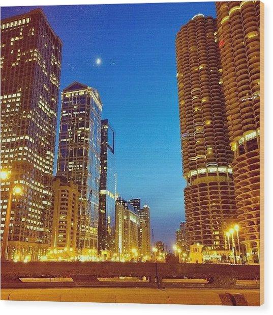 Chicago River Buildings At Night Taken Wood Print