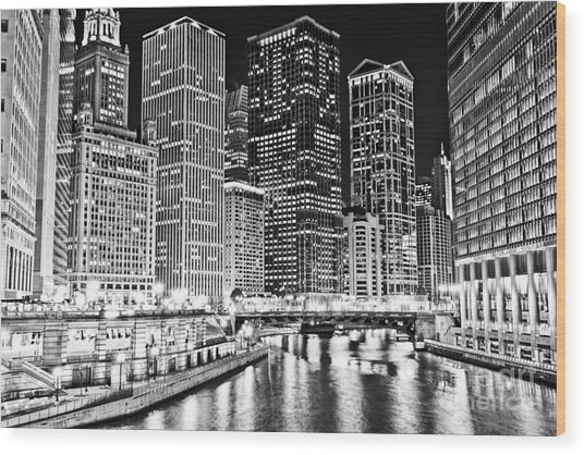 Chicago River Skyline At Night Black And White Picture Wood Print by Paul Velgos