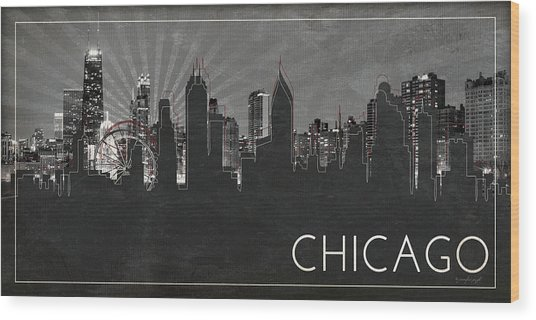 Chicago Silhouette Wood Print