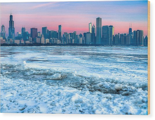 Chicago Skyline At Dawn - Lake Michigan 3-9-14 Wood Print by Michael  Bennett