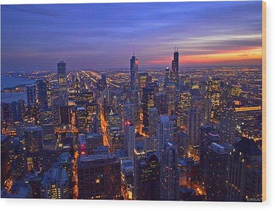 Chicago Skyline At Dusk From John Hancock Signature Lounge Wood Print