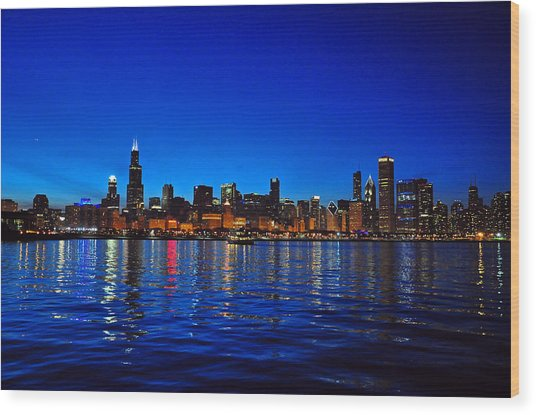 Wood Print featuring the photograph Chicago Skyline At Dusk by Matthew Chapman