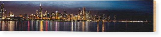 Chicago Skyline At Night Panoramic Wood Print