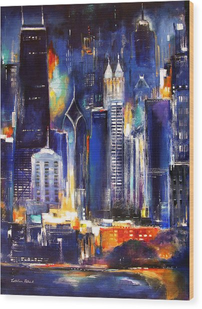 Chicago Skyline At Night Wood Print