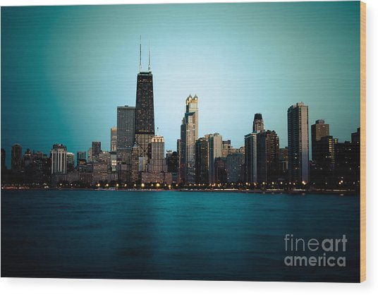 Chicago Skyline At Night Time Wood Print