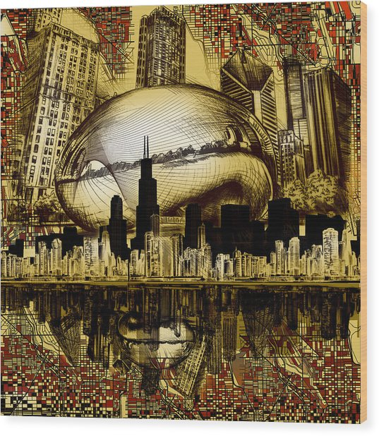 Chicago Skyline Drawing Collage 3 Wood Print
