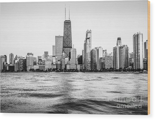 Chicago Skyline Hancock Building Black And White Photo Wood Print
