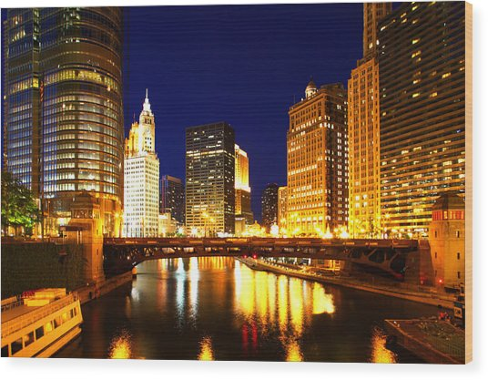 Chicago Skyline Night River Wood Print
