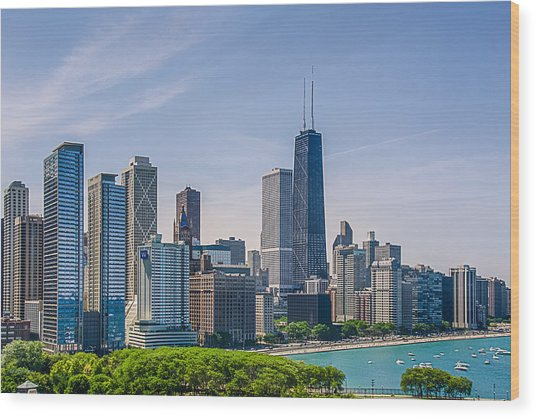 Chicago Skyline North View Wood Print