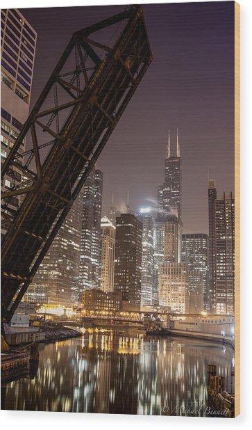 Chicago Skyline Over Chicago River Wood Print