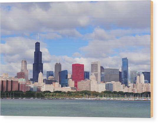 Chicago Skyline Over Lake Michigan Wood Print