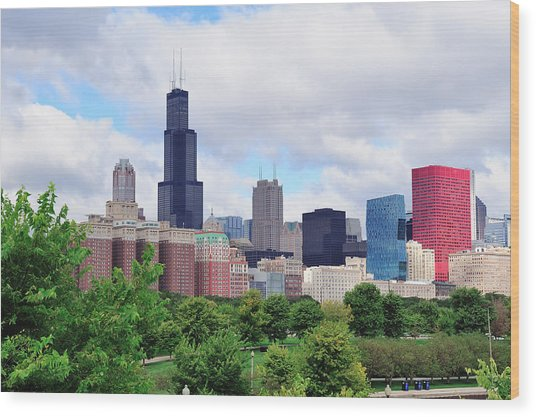 Chicago Skyline Over Park Wood Print