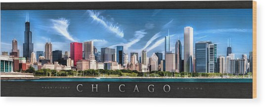 Chicago Skyline Panorama Poster Wood Print