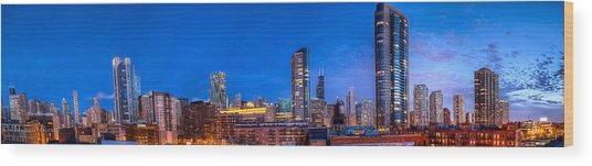 Chicago Skyline Photography - Blue Hour Cityscape Wood Print by Michael  Bennett
