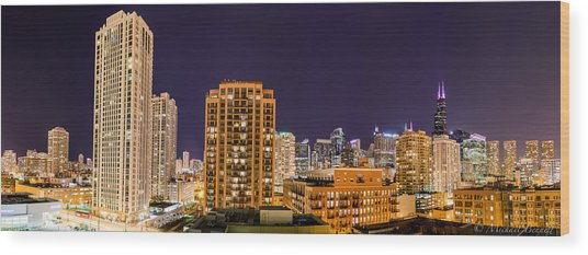 Chicago Skyline Photography October 2014 Wood Print by Michael  Bennett