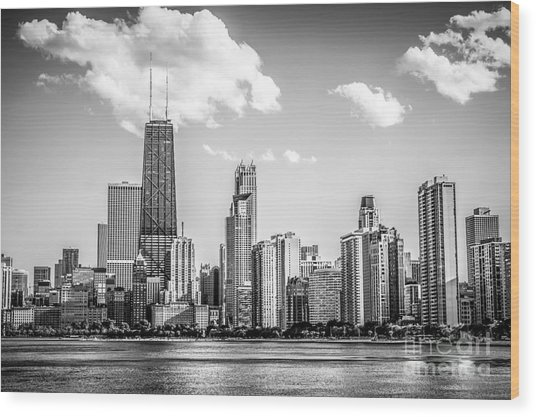 Chicago Skyline Picture In Black And White Wood Print
