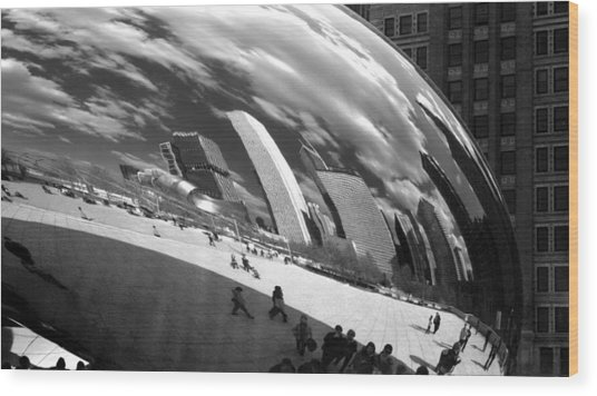 Chicago Skyline Reflected Bean Wood Print