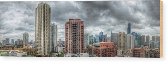 Chicago Skyline - Sears Tower 6 Shot Panorama Wood Print by Michael  Bennett