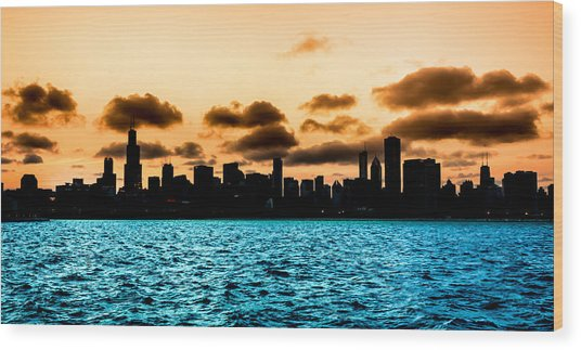 Chicago Skyline Silhouette Wood Print