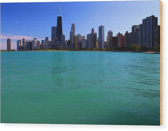 Chicago Skyline Teal Water Wood Print