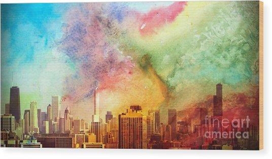 Chicago Skyline Watercolor Sky Wood Print