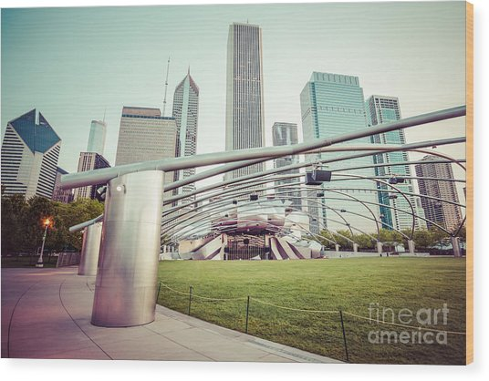 Chicago Skyline With Pritzker Pavilion Vintage Picture Wood Print by Paul Velgos