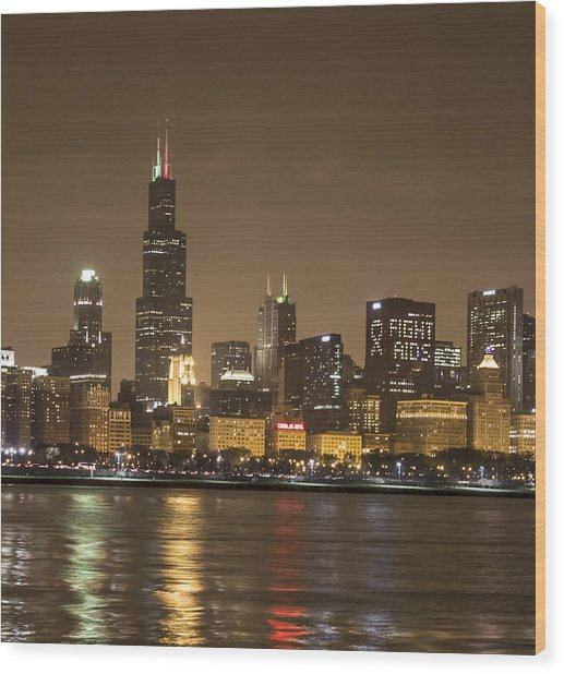 Chicago Skyline - World Aids Day 12/1/12 Wood Print
