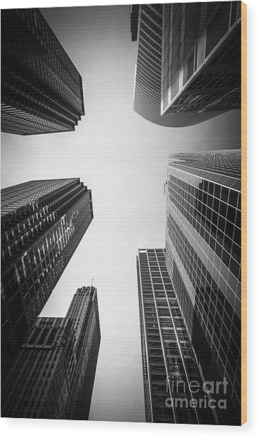 Chicago Skyscrapers In Black And White Wood Print