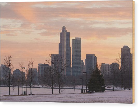 Chicago Skyscrapers In Sunset Wood Print