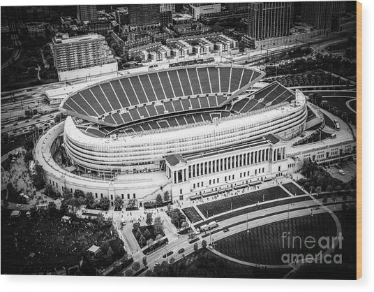Chicago Soldier Field Aerial Picture In Black And White Wood Print