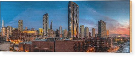 Chicago Sunset Photogtaphy Wood Print by Michael  Bennett