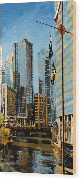 Chicago - The River From The East Wood Print
