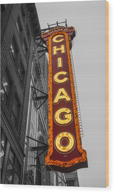 Chicago Theater Selective Color Wood Print