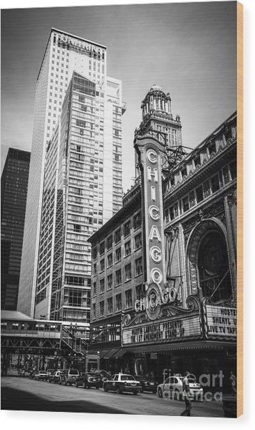 Chicago Theatre Black And White Picture Wood Print